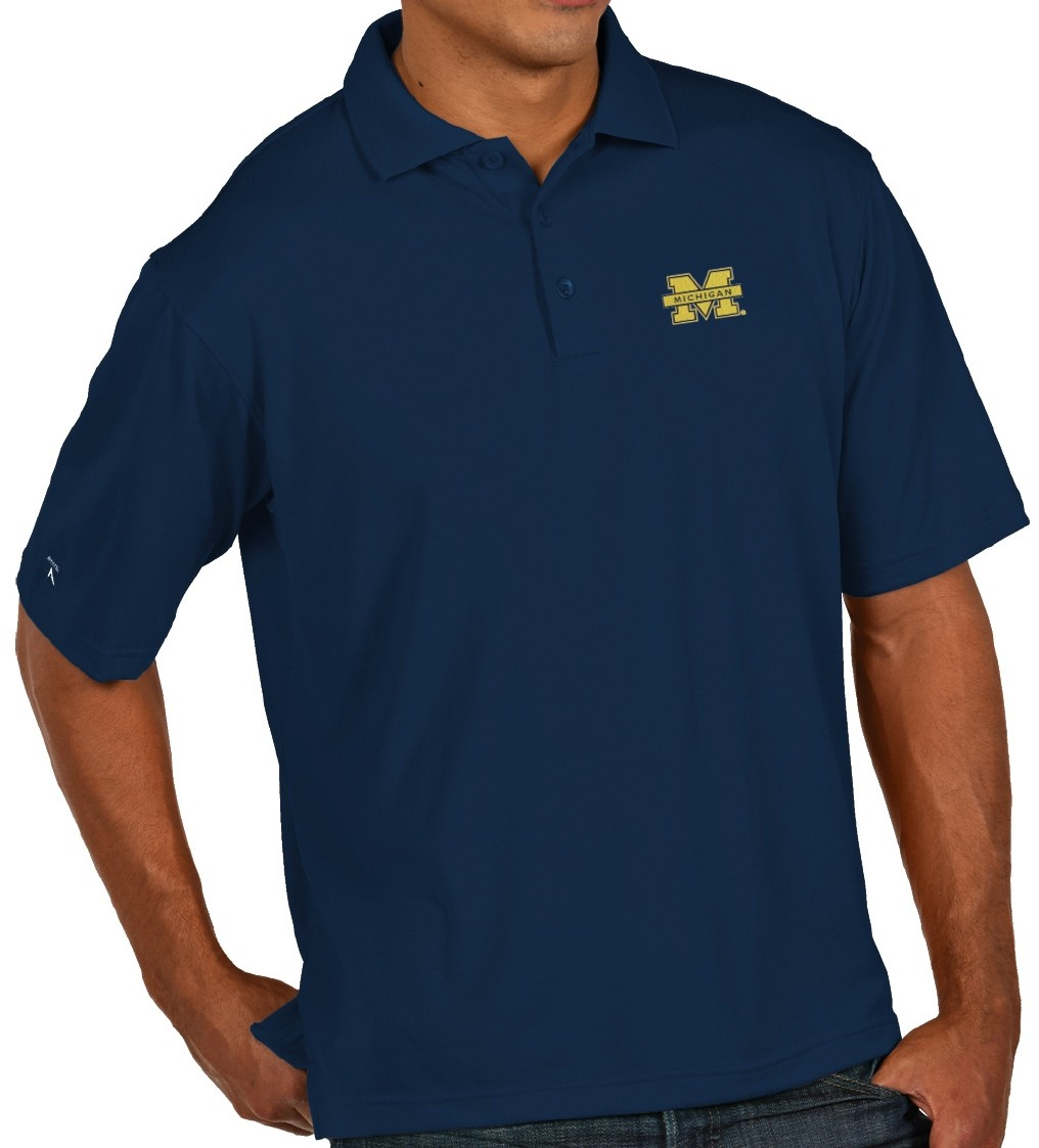 "Michigan Wolverines Antiqua NCAA ""Pique"" Performance Polo Shirt - Navy"