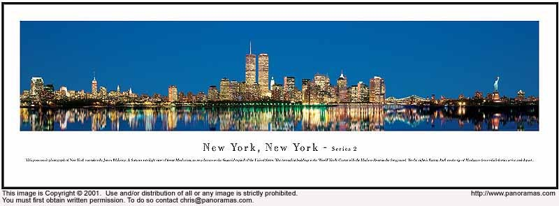 New York, New York at Night 13.5x40 Panoramic Photo