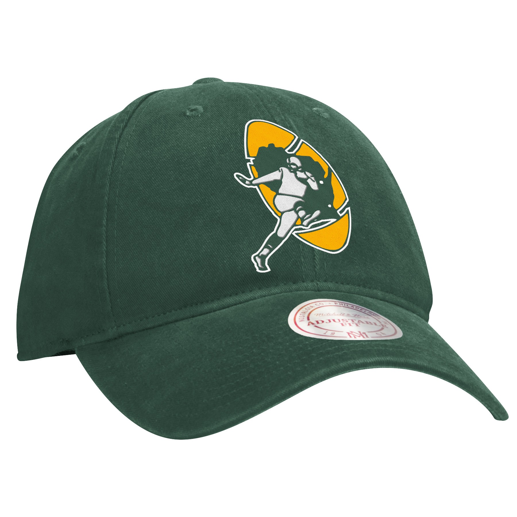 be0757ff923 Details about Green Bay Packers Mitchell   Ness NFL Throwback Felt Logo  Slouch Adjustable Hat