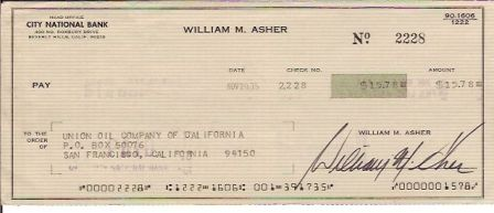 William Asher Signed Original Check