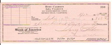 Rory Calhoun Signed Original Check