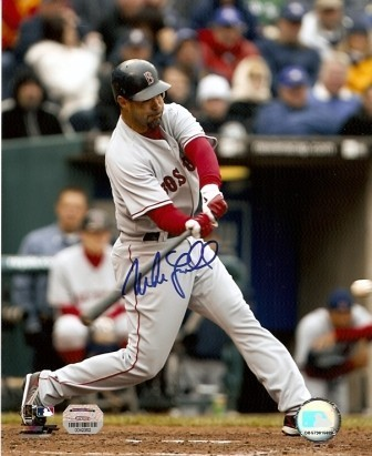 Mike Lowell Signed Red Sox Batting 8x10