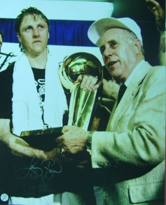 Larry Bird Signed Celtics 16x20 w/Red Auerbach