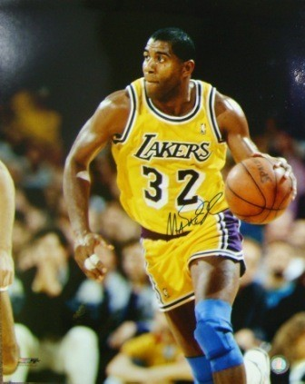 Magic Johnson Signed Lakers 16x20