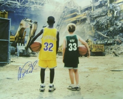 Magic Johnson Larry Bird Signed 16x20 - As Kids