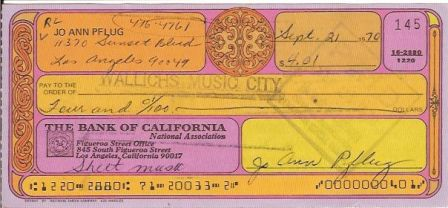 Jo Ann Pflug Signed Original Cancelled Check