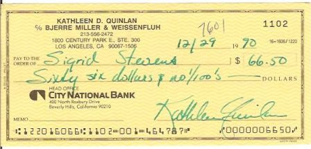 Kathleen Quinlan Signed Original Cancelled Check