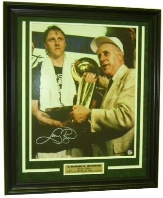 Larry Bird w/Auerbach & Trophy Signed Framed 16x20