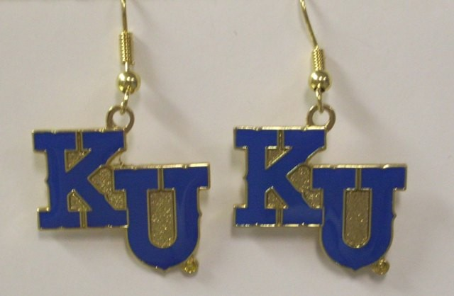 NCAA Dangling Earrings - Kansas Jayhawks Logo