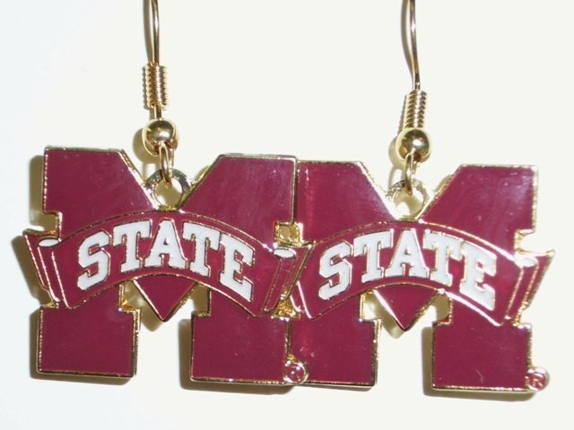 NCAA Dangling Earrings - Mississippi State Bulldogs Logo
