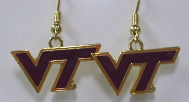 NCAA Dangling Earrings - Virginia Tech Hokies Logo