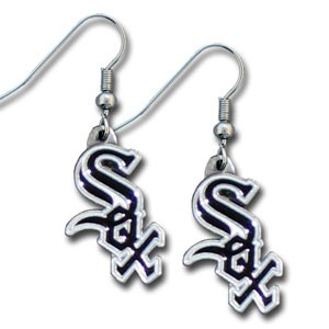 MLB Dangling Earrings - Chicago White Sox Logo