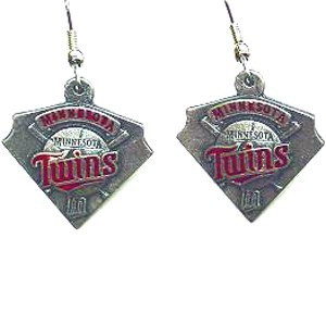 MLB Enameled Pewter Earrings - Minnesota Twins