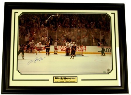 Mark Messier Signed Victory 16x24 w/94 Cup Framed