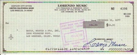 Lorenzo Music Signed Original Check