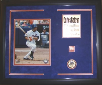 Carlos Beltran Batting 8x10 Framed w/Game Used Baseball Piece