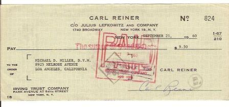 Carl Reiner Signed Original Check