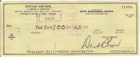 Dinah Shore Signed Original Check