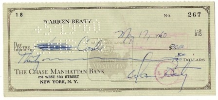 Warren Beaty Signed Original Check