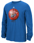 "Oklahoma City Thunder Adidas NBA ""Logo Ball"" Premium Print L/S Men's T-Shirt"