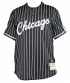 Chicago Bulls Mitchell & Ness Men's Black Pinstriped Mesh Baseball Jersey Shirt