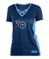 "Tennessee Titans Women's New Era NFL ""Rushing"" V-Neck Poly Mesh S/S Shirt"
