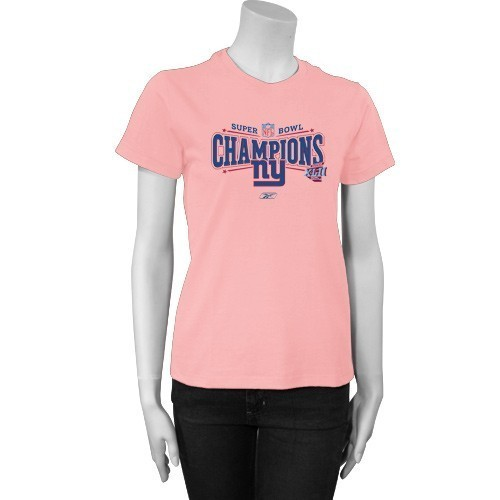 New York Giants Super Bowl XLII Champions Ladies Pink T-Shirt