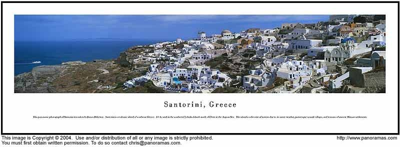 Santorini, Greece 13.5x40 Panoramic Photo
