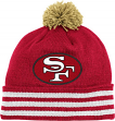 San Francisco 49ers Mitchell & Ness NFL Throwback Jersey Stripe Cuffed Knit Hat w/ Pom