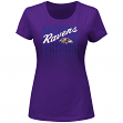 "Baltimore Ravens Women's Majestic ""Franchise Fit V"" T-shirt - Purple"