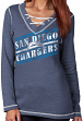 "San Diego Chargers Women's Majestic NFL ""Q.T. Queen V"" Lace-Up Sweatshirt"