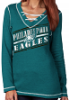 "Philadelphia Eagles Women's Majestic NFL ""Q.T. Queen V"" Lace-Up Sweatshirt"