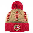 "San Francisco 49ers Mitchell & Ness NFL ""Vertical"" Cuffed Knit Hat w/ Pom"