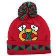 "Chicago Blackhawks Mitchell & Ness NHL ""2 Face"" Cuffed Knit Hat w/ Pom"