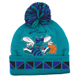 """Charlotte Hornets Mitchell & Ness NBA Throwback """"2 Face"""" Cuffed Knit Hat w/ Pom"""