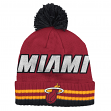 Miami Heat Adidas NBA Wordmark Cuffed Premium Knit Hat w/ Pom