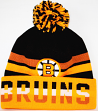 Boston Bruins Mitchell & Ness NHL Trifecta Premium Cuffed Knit Hat w/ Pom
