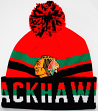Chicago Blackhawks Mitchell & Ness NHL Trifecta Premium Cuffed Knit Hat w/ Pom