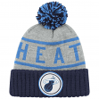 Miami Heat Mitchell & Ness NBA High 5 Cuffed Pom Knit Hat - Blue/Navy