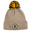 "Boston Bruins Mitchell & Ness NHL ""Beige Speckle"" Premium Cuffed Knit Hat w/ Pom"
