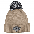 "Los Angeles Kings Mitchell & Ness NHL ""Beige Speckle"" Cuffed Knit Hat w/ Pom"