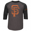 "San Francisco Giants Majestic ""Power Hit"" Tri-Blend Heathered 3/4 Sleeve T-Shirt"