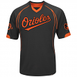 "Baltimore Orioles Majestic MLB ""Lead Hitter"" V-Neck Men's Fashion Jersey - Black"