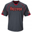 "Arizona Diamondbacks Majestic MLB ""Lead Hitter"" V-Neck Fashion Jersey - Charcoal"