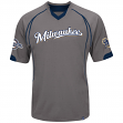 "Milwaukee Brewers Majestic MLB ""Lead Hitter"" V-Neck Fashion Jersey - Charcoal"