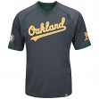 "Oakland Athletics Majestic MLB ""Lead Hitter"" V-Neck Fashion Jersey - Charcoal"