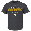 "Milwaukee Brewers Majestic MLB ""All the Way Game"" Men's Charcoal S/S T-Shirt"