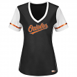 "Baltimore Orioles Women's Majestic MLB ""Curveball"" V-Neck Fashion Shirt Top"