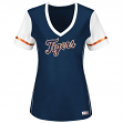 "Detroit Tigers Women's Majestic MLB ""Curveball"" V-Neck Fashion Shirt Top"