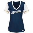 "Milwaukee Brewers Women's Majestic MLB ""Curveball"" V-Neck Fashion Shirt Top"